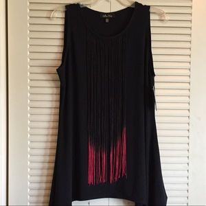 NWT Melissa Paige Woman's L Black Top with Fringe